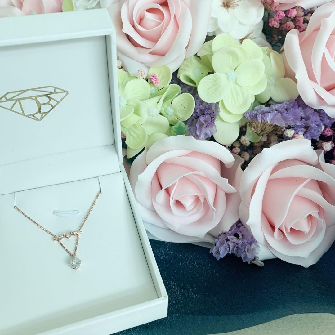 18K玫瑰金兩段式鑽石項鏈