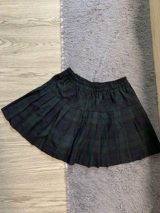 2019綠色格紋學院風伸縮鬆緊帶短裙
