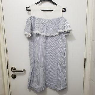 藍白直間連身裙
