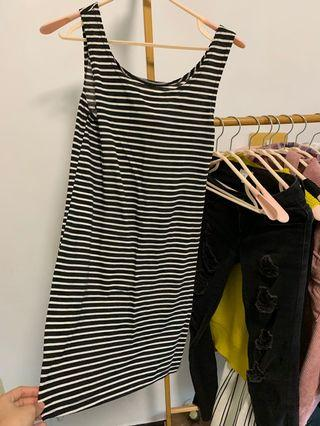 2019長版背心黑白條紋洋裝可單穿