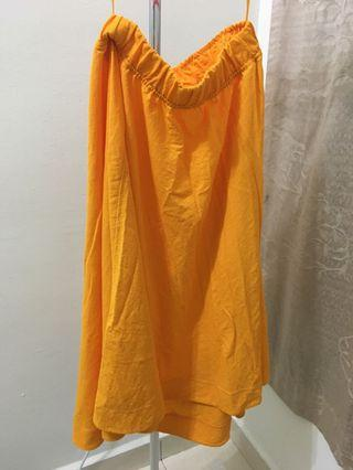 Uniqlo U Light Orange Tangerine Billowy Flowy Skirt