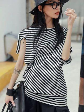 Personality irregular short-sleeved top