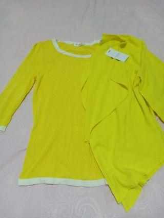 [ON SALE] Set Yellow Cardigan + Long Sleeve knitted shirt