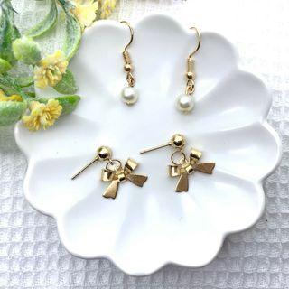 🚚 現貨[手作耳環]氣質 珍珠 俏皮 蝴蝶結