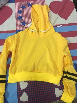 Long Sleeved Yellow Crop Hoodie