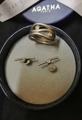 Agatha AU 750 ring with diamonds & earrings.