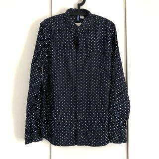 H&M dark blue navy dotted casual shirt