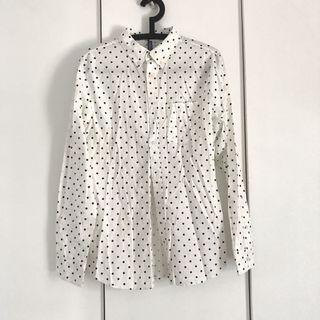 h&m navy dotted white casual shirt