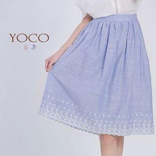 Yoco Midi Embroidered skirt