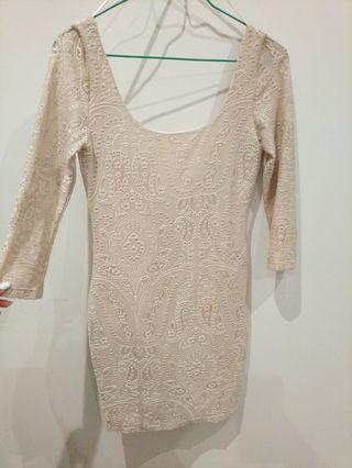 Miss Selfridge Petites size 8 gold long sleeve dress