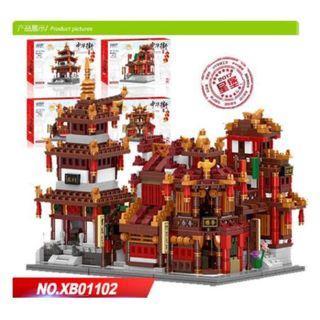 XB01102 Zhong Hua Street Series The Teahouse Library Cloth House Wangjiang Tower Set