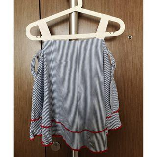 CottonInk striped white and blue top