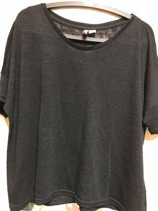 H&M 純黑寬版針織上衣