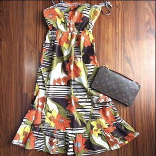 MISS DE Floral Dress with Ribbon Tied Strap