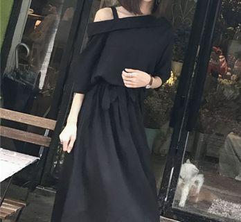 復古氣質斜肩寬鬆收腰連衣裙