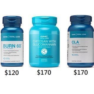 🌳旺角門市🌳💥GNC Burn 60 / 甲殼素 Chitosan with Glucomannan / Total Lean CLA 共軛亞油酸 90粒💥
