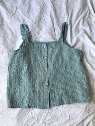 Button down top Green/orange