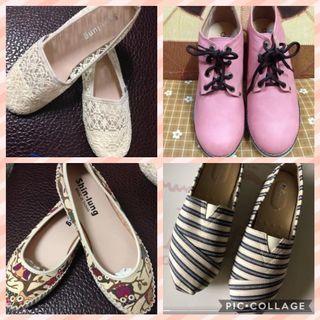 全新 包鞋 懶人鞋 平底鞋 蕾絲娃娃鞋 粉色馬丁鞋