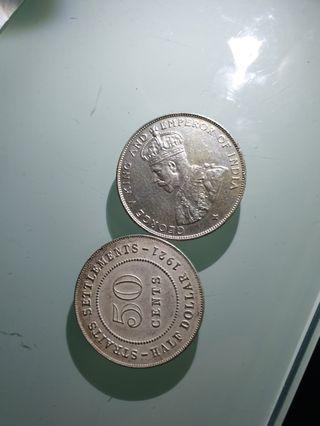 Old Coin old King 50¢ for 2pcs