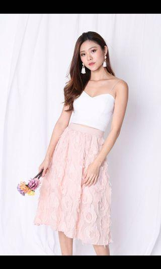 Andrela Feather Skirt In Dusty Pink