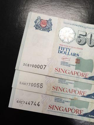🚚 Singapore $50 Fancy Number