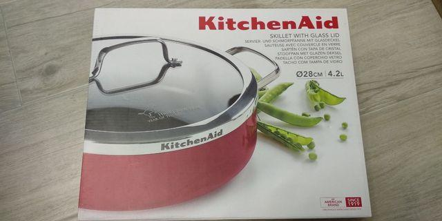 全新 KitchenAid 28cm 煎鍋連玻璃蓋
