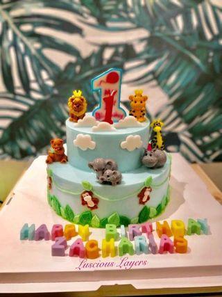 2 tiers Safari theme Jelly cake