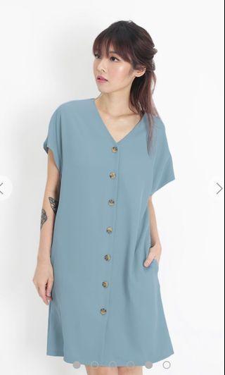 BNWT AFA Molly Button Sash Dress in Dusk Blue