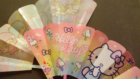 Sanrio Hello Kitty / Little Twins Stars Water Folding Fan 防水膠摺扇
