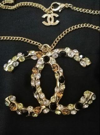 Chanel huge logo long necklace.