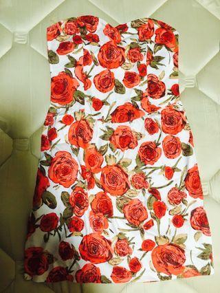 Floral Design Tube Dress