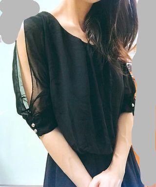 🌹雪紡黑色連身裙晚裝🌹
