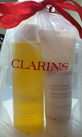 CLARINS Moisturizing Body Lotion and Tonic Bath & Shower Concentrate with essential oil