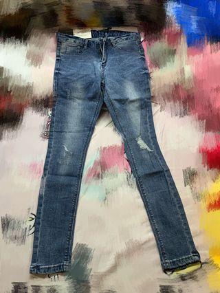 全新3折韓國高腰修身顯瘦牛仔褲
