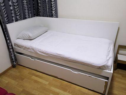 Ikea Flaxa Bed with pull-out bed underbed with 2 mattresses