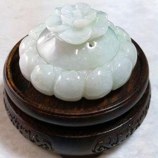 🍃香薰🍃天然緬甸玉A貨翡翠-帶底色 精雕 蓮花 造型香爐