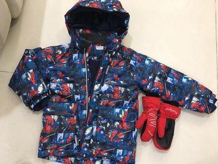 童裝 滑雪Spider-Man外套+手套一對 適合4-6小童 *勁新
