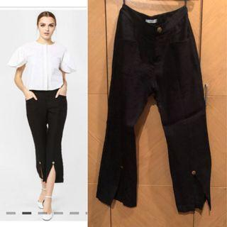 Thavia Slit Trousers in Black