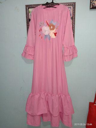 Gamis pink bordir