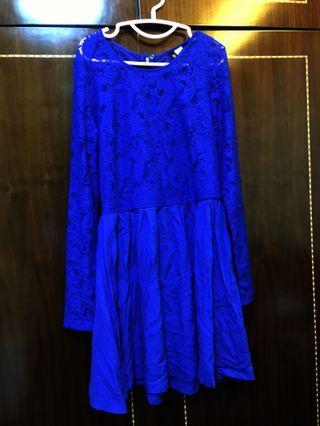 Navy Blue Lace Flare Dress