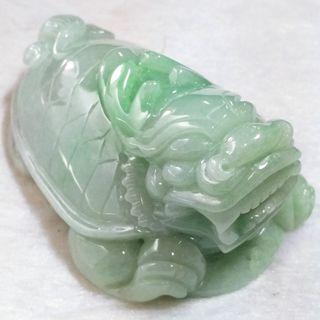 🐉招財守護🐢天然緬甸玉 A貨翡翠-飄綠花 立體精雕 龍龜