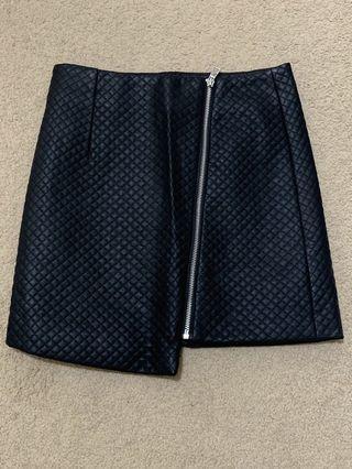 DOTTI diamond pattern leather skirt