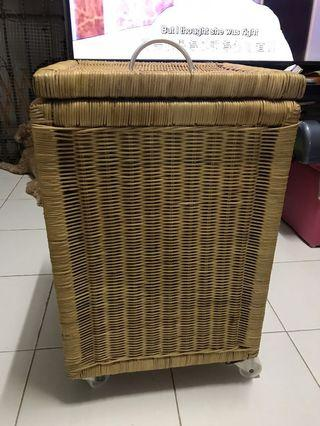 🚚 Ikea Rattan Laundry Basket with roller wheels