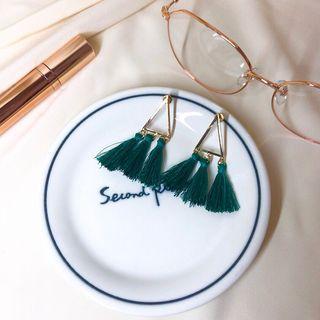 流蘇綠色垂墜耳環