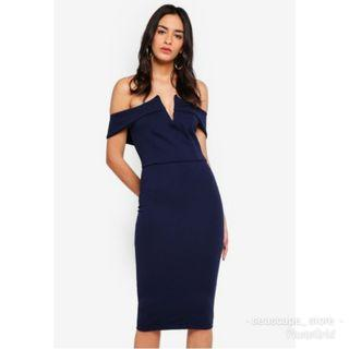 [New] Missguided Dropped Sleeve Midi Dress - Blue