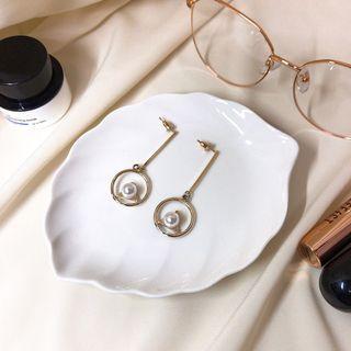 金屬直條珍珠耳環