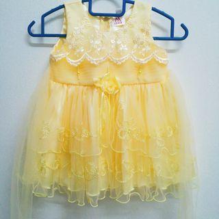 Yellow Baby Girl Flowy Princess Dress