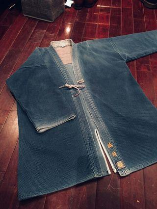 Vintage日本製藍染劍道服 一重一劍 kimono 古著 工裝