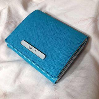 🚚 全新未使用 agnes b 天藍色白色 拼色零錢包 卡夾 防刮短夾