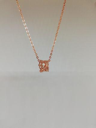 925 silver crown necklace rose gold